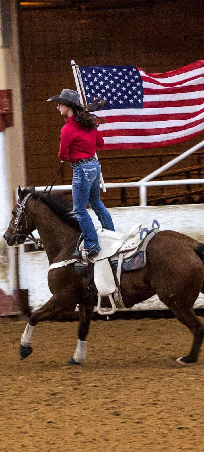 USTPA Team Penning - Rider with American Flag