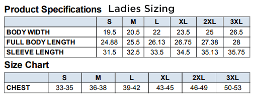 Ladies Jacket Size Chart