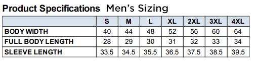 Men's Jacket Size Chart